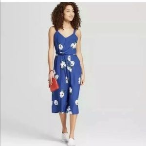 A New Day Blue Floral Romper Jumpsuit L New